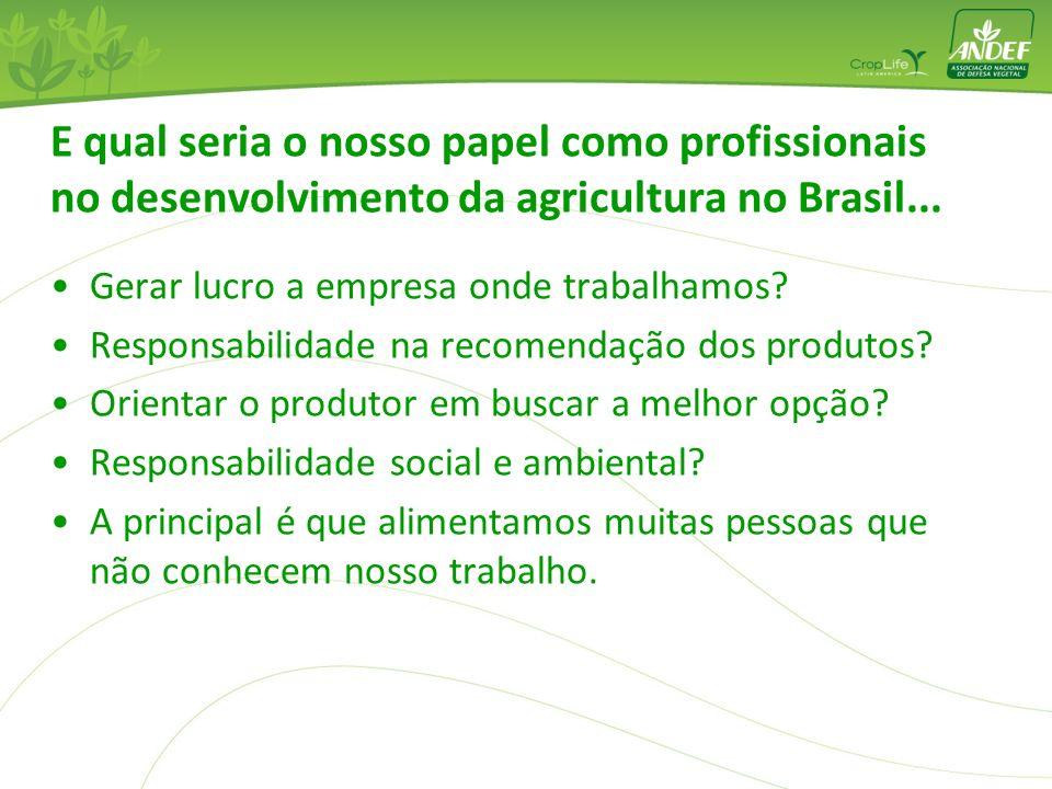 E qual seria o nosso papel como profissionais no desenvolvimento da agricultura no Brasil... Gerar lucro a empresa onde trabalhamos? Responsabilidade