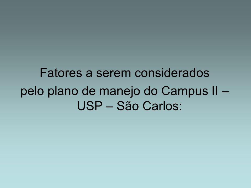 Fatores a serem considerados pelo plano de manejo do Campus II – USP – São Carlos: