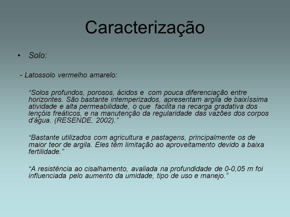Solo: - Solo hidromórfico (várzeas): Solos sujeitos a encharcamento temporário ou permanente.