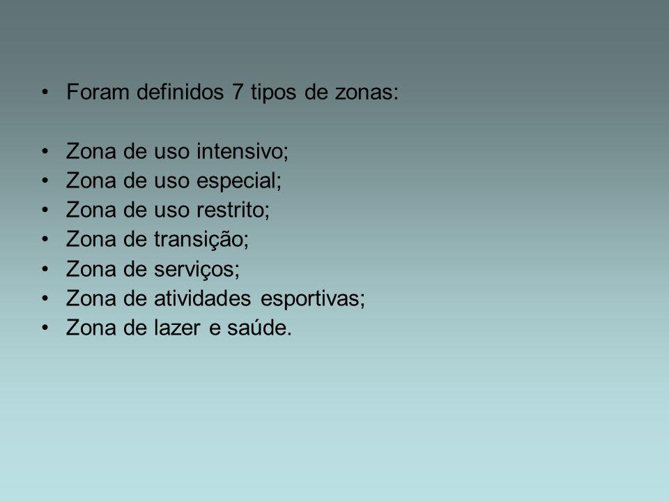 Foram definidos 7 tipos de zonas: Zona de uso intensivo; Zona de uso especial; Zona de uso restrito; Zona de transição; Zona de serviços; Zona de ativ