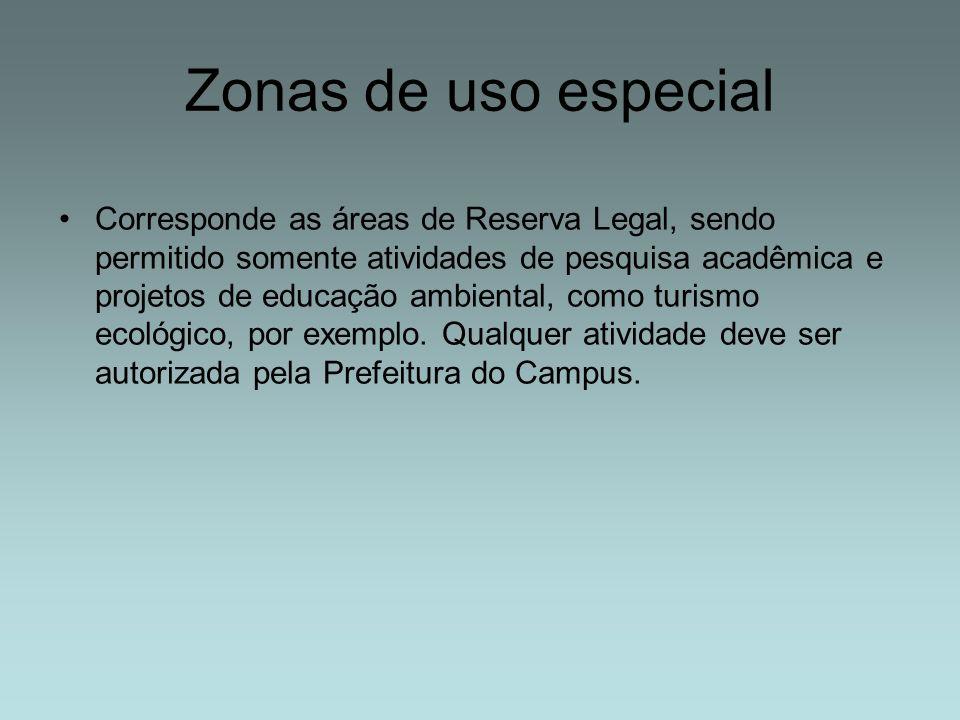 Zonas de uso especial Corresponde as áreas de Reserva Legal, sendo permitido somente atividades de pesquisa acadêmica e projetos de educação ambiental