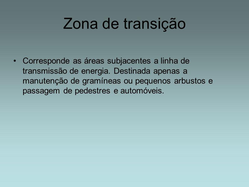 Zona de transição Corresponde as áreas subjacentes a linha de transmissão de energia. Destinada apenas a manutenção de gramíneas ou pequenos arbustos