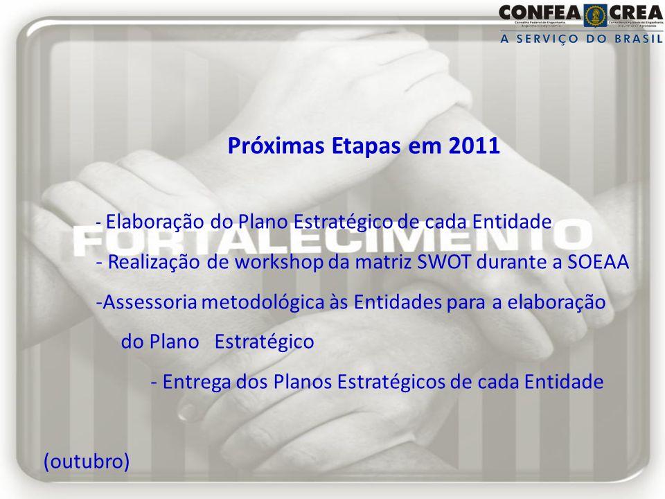 Próximas Etapas em 2011 - Elaboração do Plano Estratégico de cada Entidade - Realização de workshop da matriz SWOT durante a SOEAA -Assessoria metodol