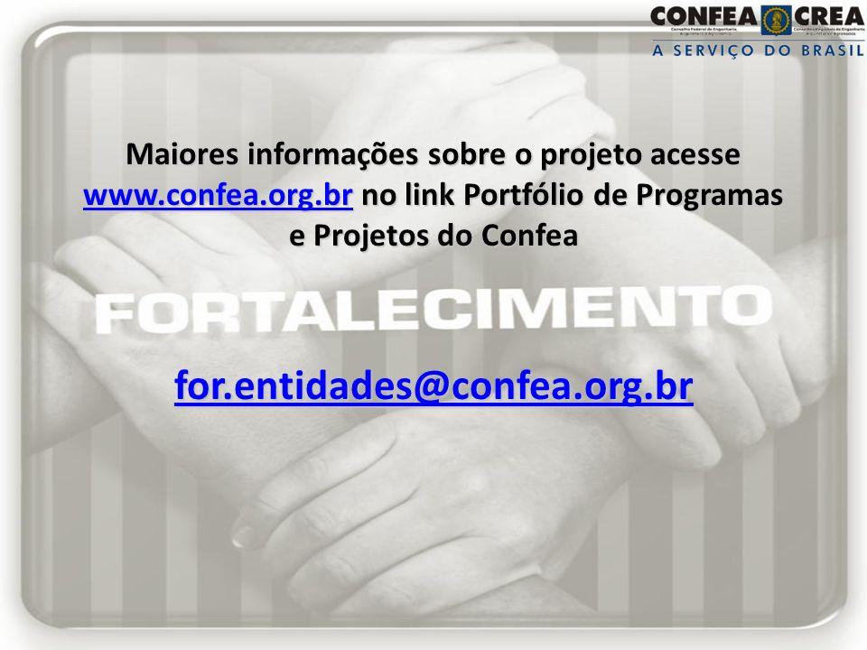 Maiores informações sobre o projeto acesse www.confea.org.br no link Portfólio de Programas e Projetos do Confea for.entidades@confea.org.br www.confe