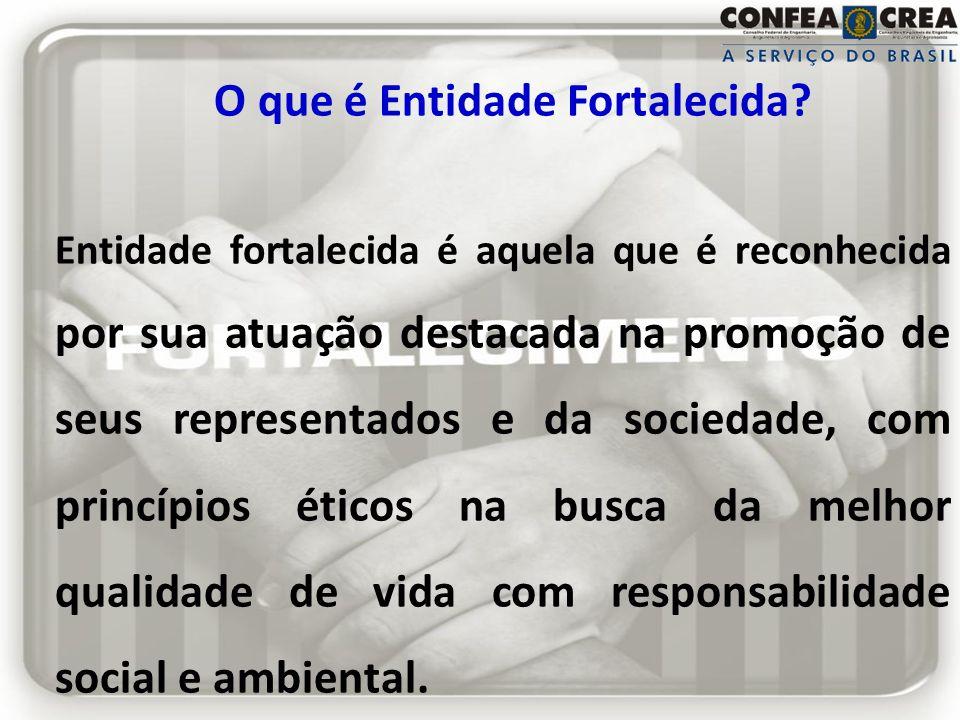 O que é Entidade Fortalecida? Entidade fortalecida é aquela que é reconhecida por sua atuação destacada na promoção de seus representados e da socieda