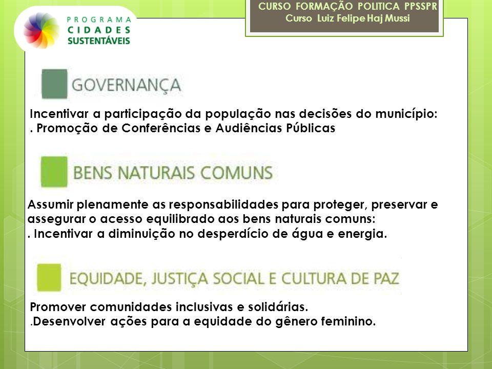Incentivar a participação da população nas decisões do município:. Promoção de Conferências e Audiências Públicas Assumir plenamente as responsabilida