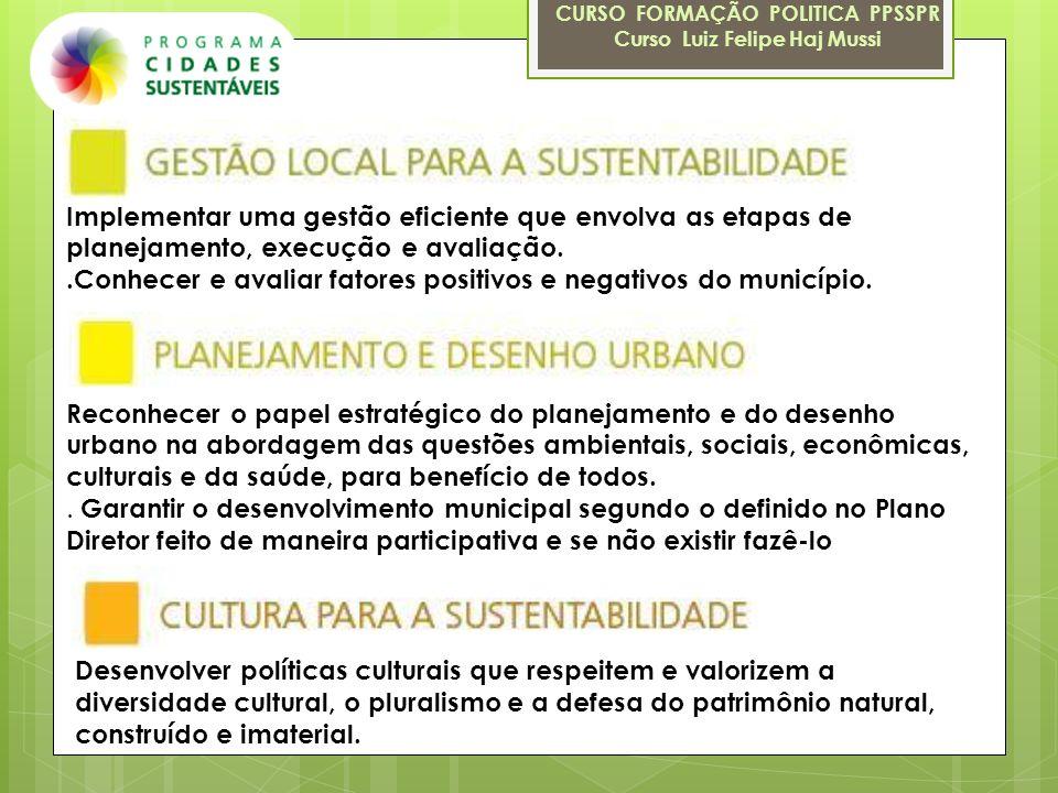 CURSO FORMAÇÃO POLITICA PPSSPR Curso Luiz Felipe Haj Mussi Implementar uma gestão eficiente que envolva as etapas de planejamento, execução e avaliaçã