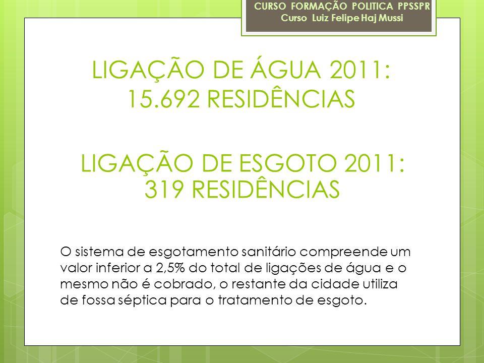 LIGAÇÃO DE ÁGUA 2011: 15.692 RESIDÊNCIAS CURSO FORMAÇÃO POLITICA PPSSPR Curso Luiz Felipe Haj Mussi LIGAÇÃO DE ESGOTO 2011: 319 RESIDÊNCIAS O sistema