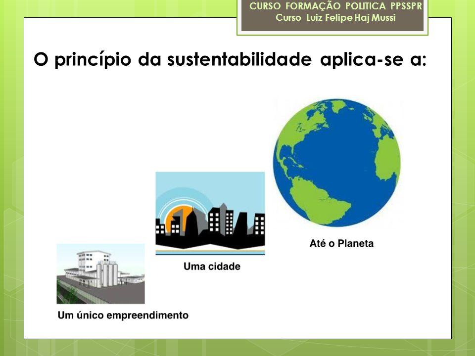 O princípio da sustentabilidade aplica-se a: CURSO FORMAÇÃO POLITICA PPSSPR Curso Luiz Felipe Haj Mussi