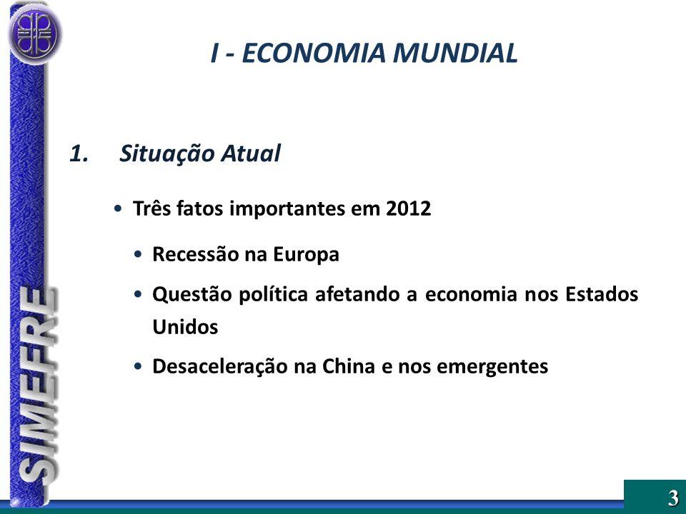 3 Três fatos importantes em 2012 Recessão na Europa Questão política afetando a economia nos Estados Unidos Desaceleração na China e nos emergentes 1.