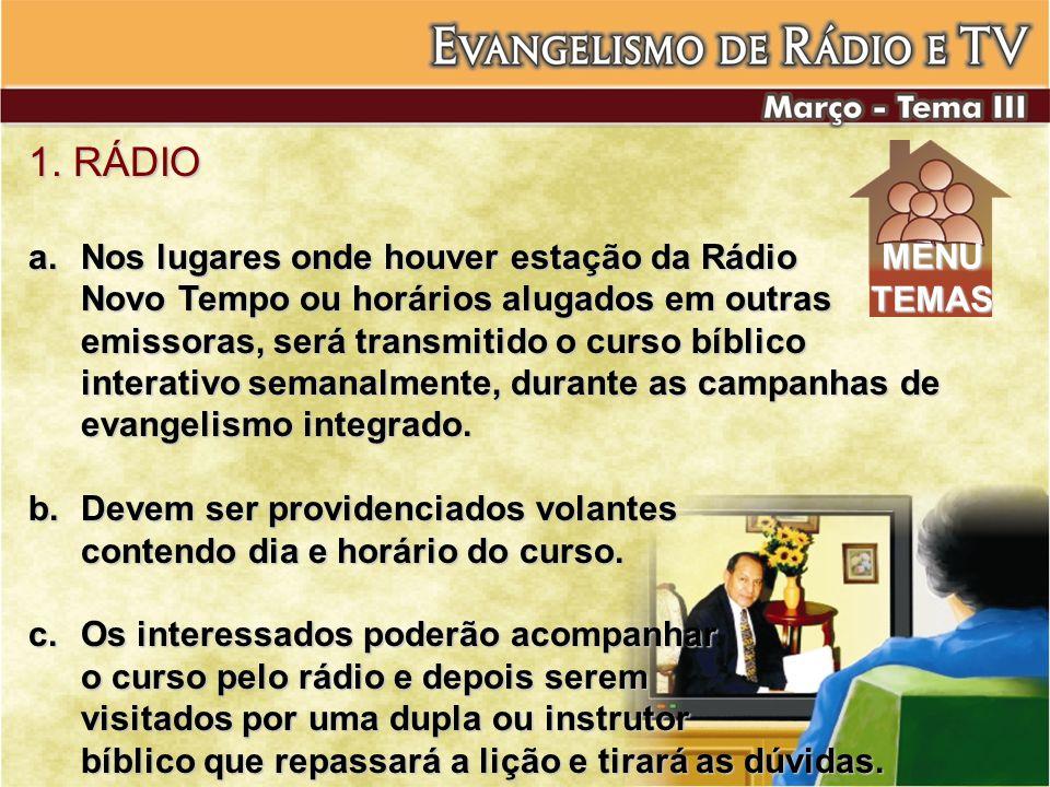 1. RÁDIO a.Nos lugares onde houver estação da Rádio Novo Tempo ou horários alugados em outras emissoras, será transmitido o curso bíblico interativo s