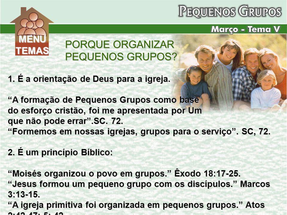 PORQUE ORGANIZAR PEQUENOS GRUPOS? 1. É a orientação de Deus para a igreja. A formação de Pequenos Grupos como base do esforço cristão, foi me apresent