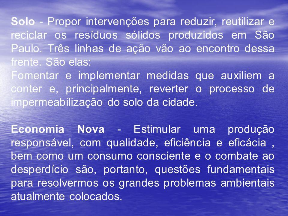 Solo - Propor intervenções para reduzir, reutilizar e reciclar os resíduos sólidos produzidos em São Paulo. Três linhas de ação vão ao encontro dessa