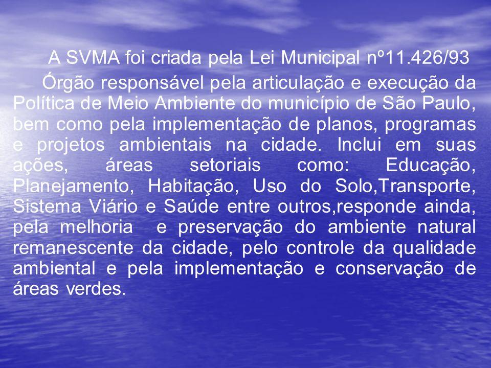 A SVMA foi criada pela Lei Municipal nº11.426/93 Órgão responsável pela articulação e execução da Política de Meio Ambiente do município de São Paulo, bem como pela implementação de planos, programas e projetos ambientais na cidade.