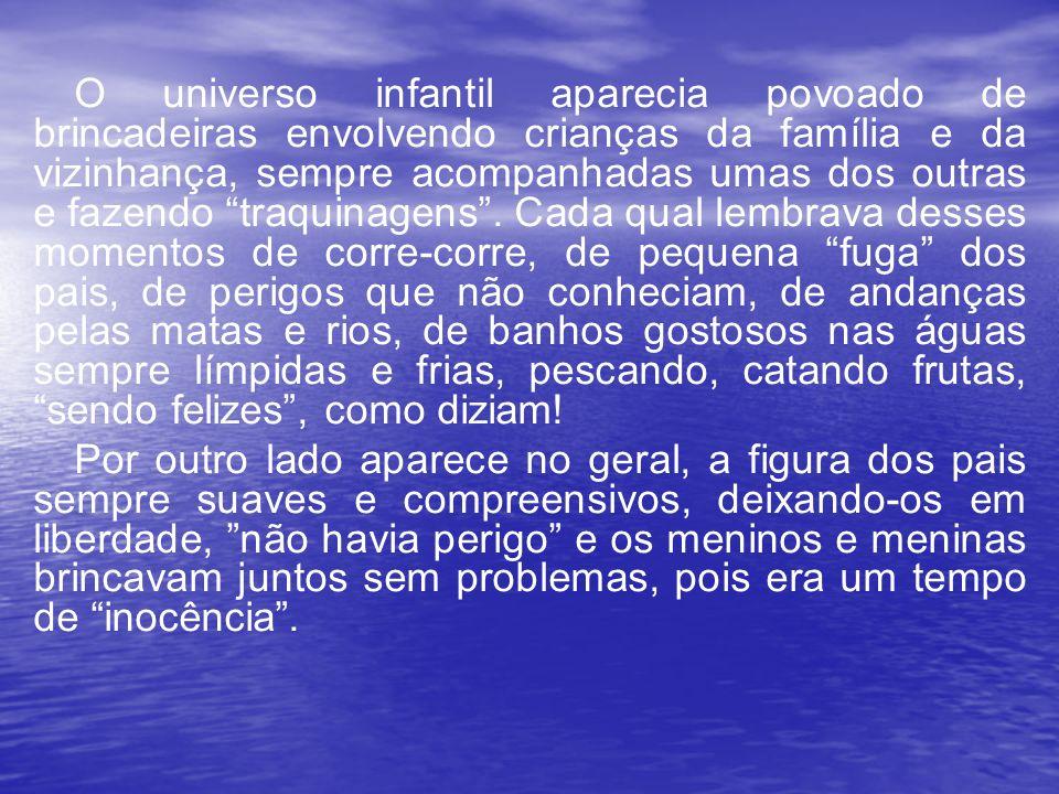 O universo infantil aparecia povoado de brincadeiras envolvendo crianças da família e da vizinhança, sempre acompanhadas umas dos outras e fazendo traquinagens.