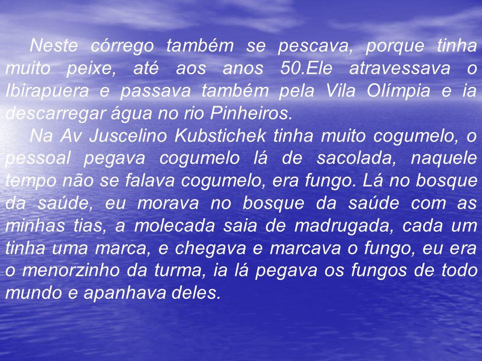 Neste córrego também se pescava, porque tinha muito peixe, até aos anos 50.Ele atravessava o Ibirapuera e passava também pela Vila Olímpia e ia descar