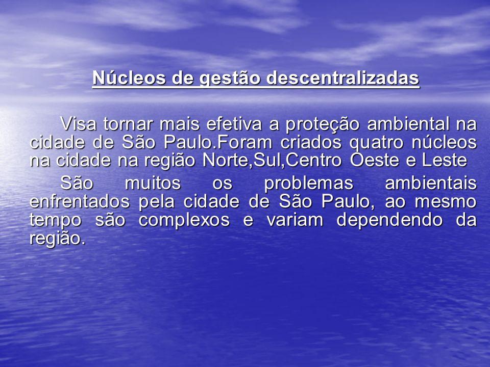Núcleos de gestão descentralizadas Núcleos de gestão descentralizadas Visa tornar mais efetiva a proteção ambiental na cidade de São Paulo.Foram criad