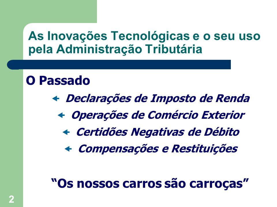 3 As Inovações Tecnológicas e o seu uso pela Administração Tributária Ações de Impacto Siscomex Exportação 1993 Controle de Carga Aérea 1995 Siscomex Importação 1996