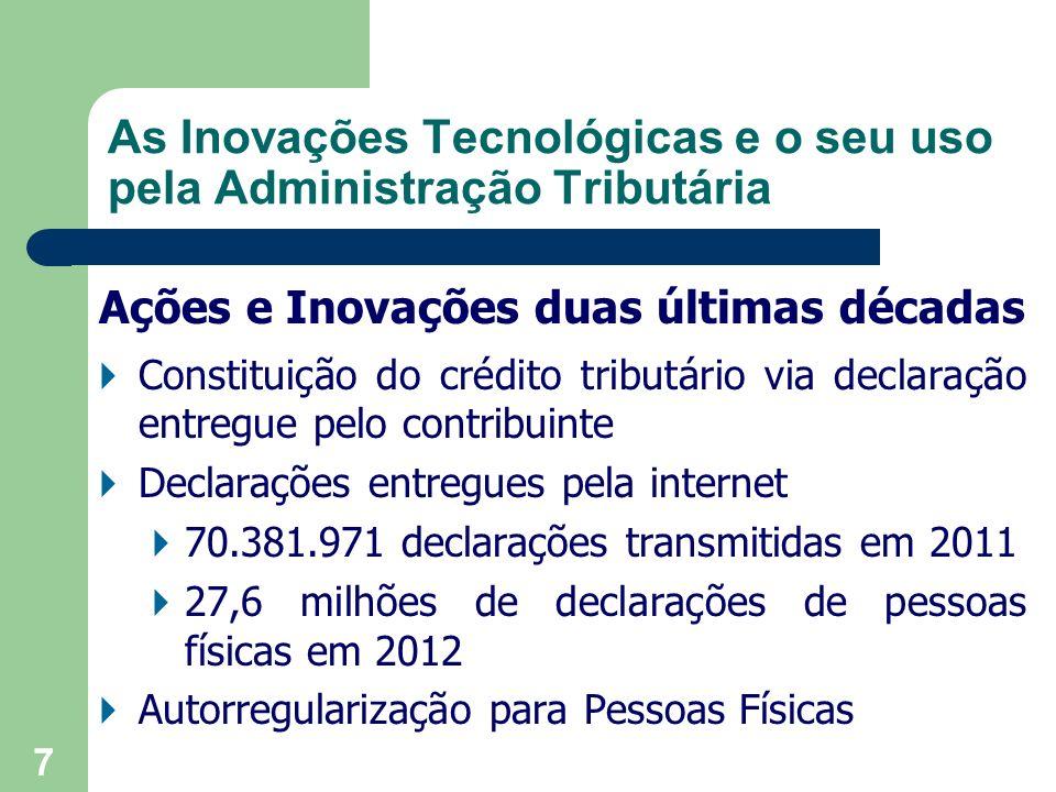 18 Aplicativos para utilização em tablet e smartphones, destinados às pessoas físicas As Inovações Tecnológicas e o seu uso pela Administração Tributária
