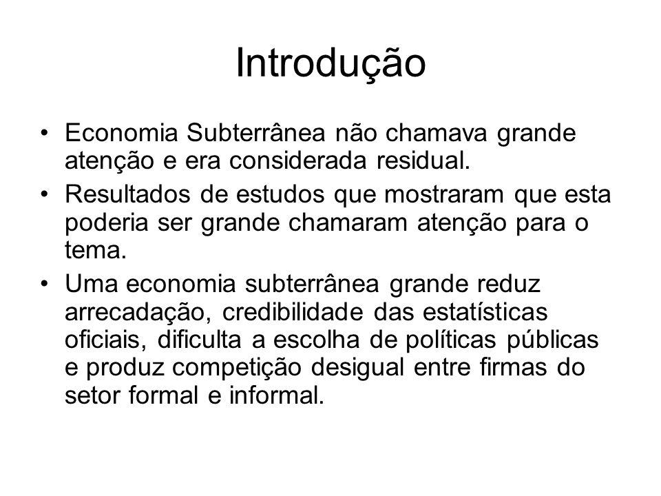 Introdução Economia Subterrânea não chamava grande atenção e era considerada residual. Resultados de estudos que mostraram que esta poderia ser grande