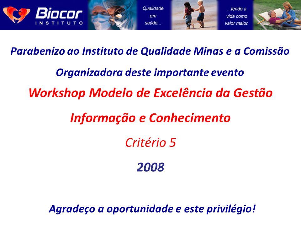 Parabenizo ao Instituto de Qualidade Minas e a Comissão Organizadora deste importante evento Workshop Modelo de Excelência da Gestão Informação e Conh