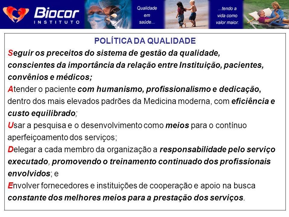 POLÍTICA DA QUALIDADE Seguir os preceitos do sistema de gestão da qualidade, conscientes da importância da relação entre Instituição, pacientes, convê