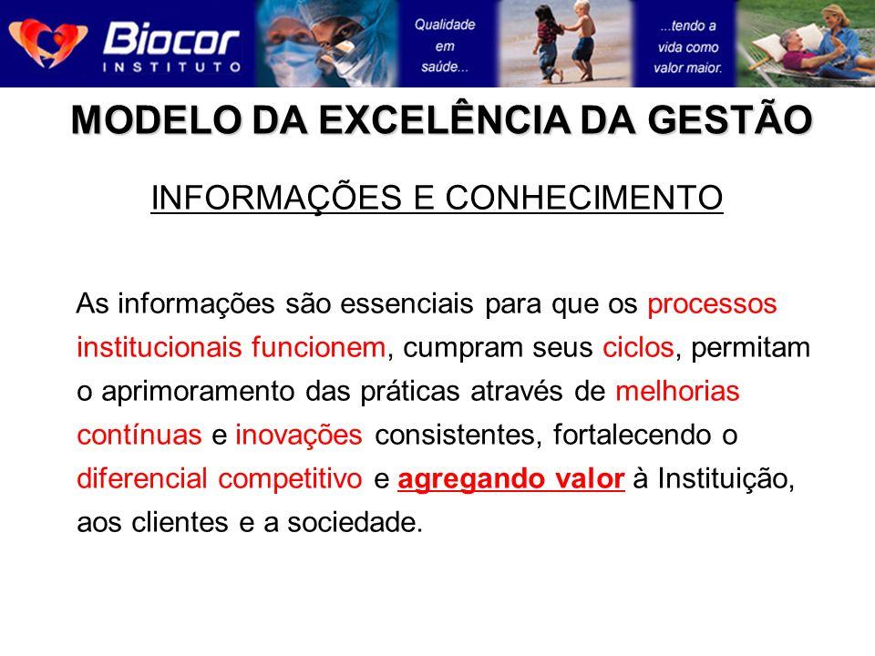 MODELO DA EXCELÊNCIA DA GESTÃO INFORMAÇÕES E CONHECIMENTO As informações são essenciais para que os processos institucionais funcionem, cumpram seus c