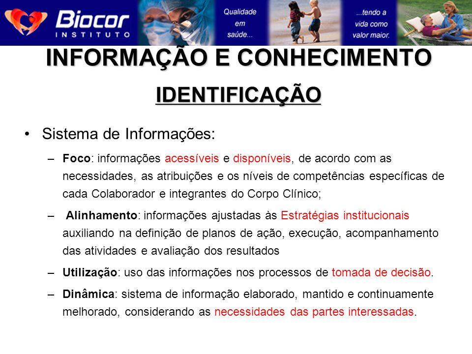 INFORMAÇÃO E CONHECIMENTO IDENTIFICAÇÃO Sistema de Informações: –Foco: informações acessíveis e disponíveis, de acordo com as necessidades, as atribui