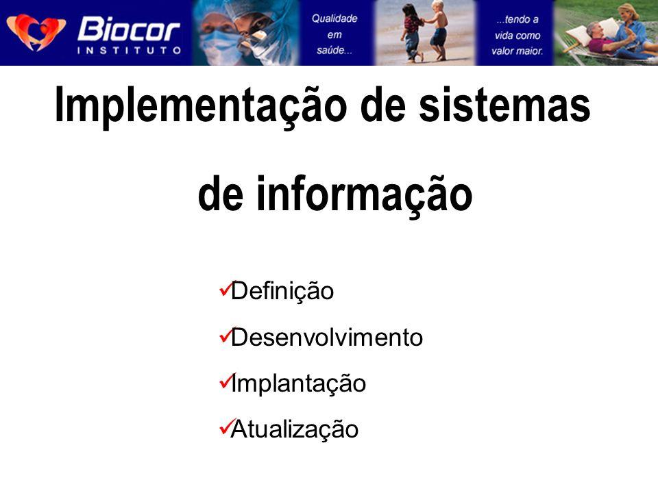 Implementação de sistemas de informação Definição Desenvolvimento Implantação Atualização