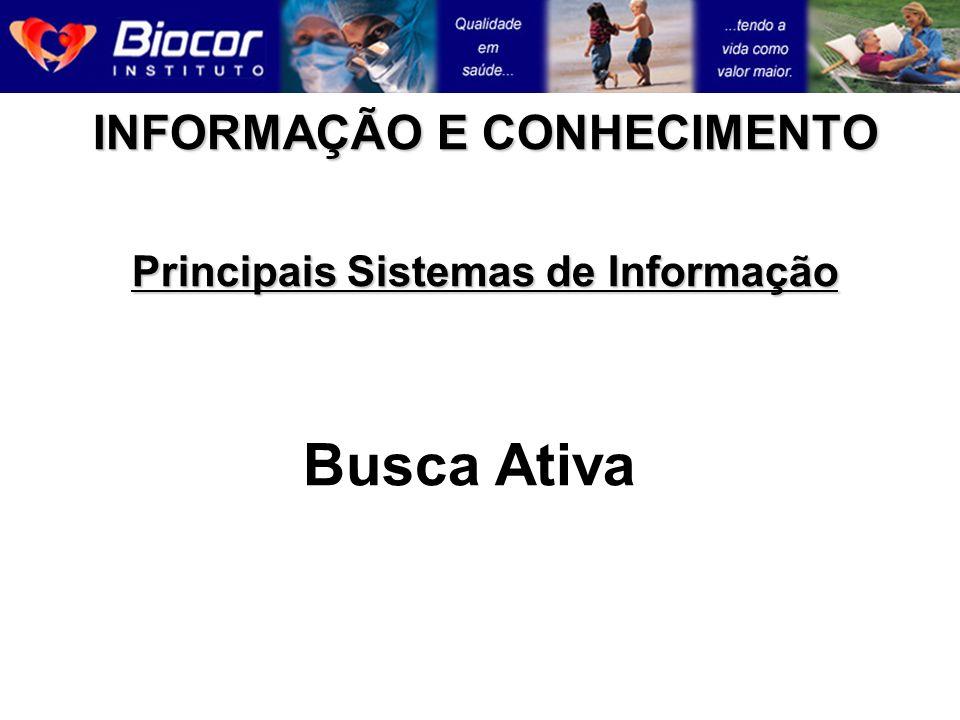 INFORMAÇÃO E CONHECIMENTO Principais Sistemas de Informação Busca Ativa