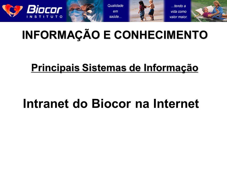 INFORMAÇÃO E CONHECIMENTO Principais Sistemas de Informação Intranet do Biocor na Internet