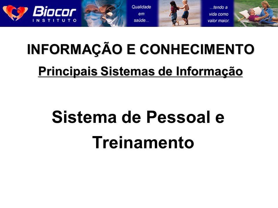 INFORMAÇÃO E CONHECIMENTO Principais Sistemas de Informação Sistema de Pessoal e Treinamento