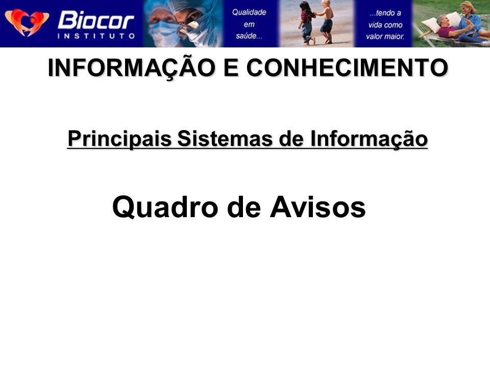 INFORMAÇÃO E CONHECIMENTO Principais Sistemas de Informação Quadro de Avisos