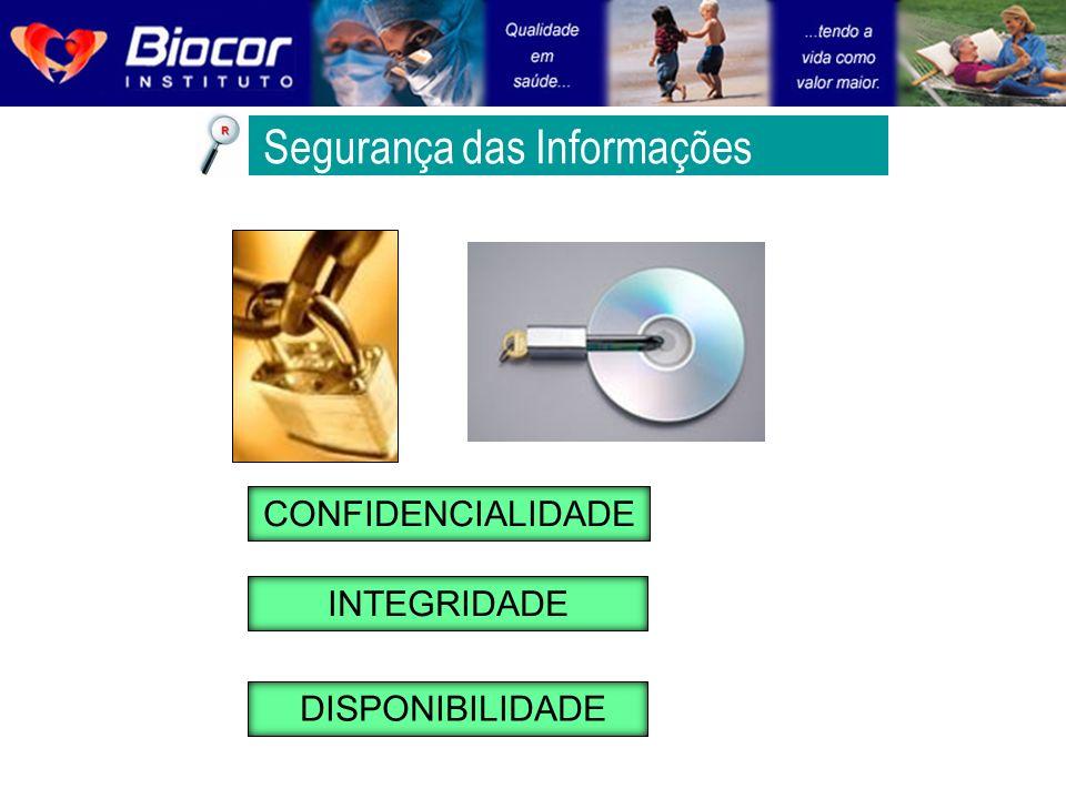 CONFIDENCIALIDADE INTEGRIDADE DISPONIBILIDADE Segurança das Informações