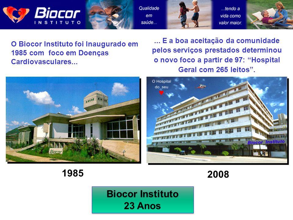1985 O Biocor Instituto foi Inaugurado em 1985 com foco em Doenças Cardiovasculares... 2008... E a boa aceitação da comunidade pelos serviços prestado