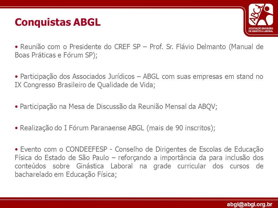 abgl@abgl.org.br Reunião com o Presidente do CREF SP – Prof. Sr. Flávio Delmanto (Manual de Boas Práticas e Fórum SP); Participação dos Associados Jur