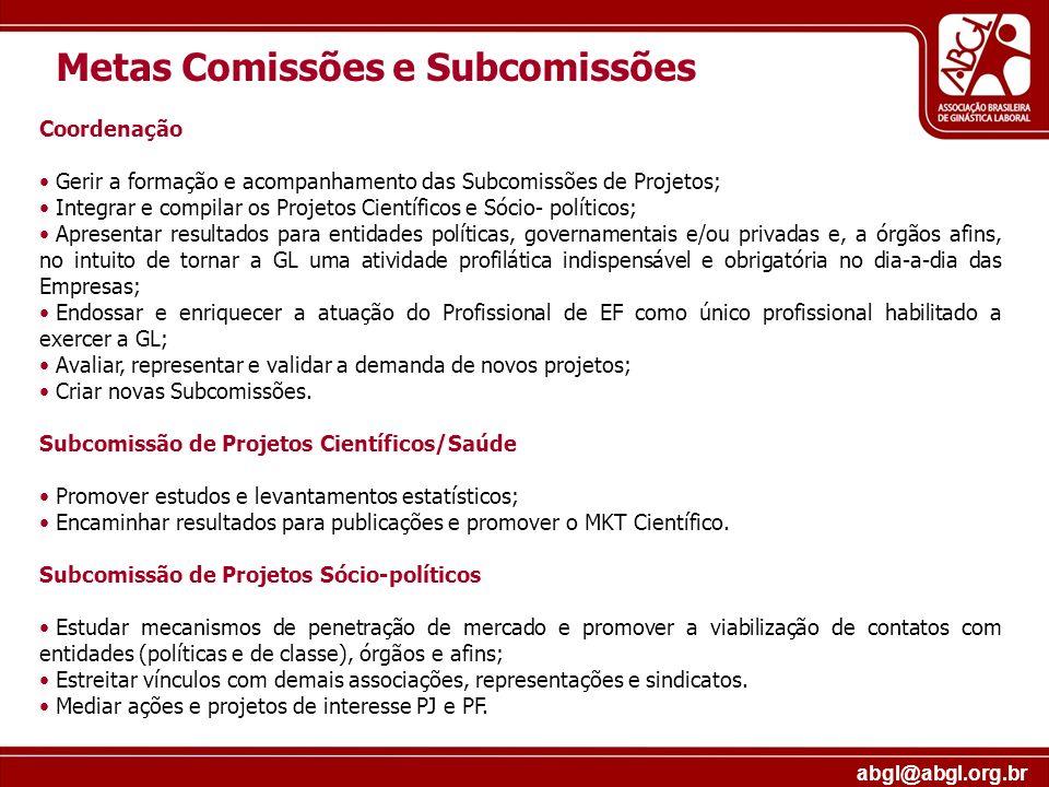 abgl@abgl.org.br Metas Comissões e Subcomissões Coordenação Gerir a formação e acompanhamento das Subcomissões de Projetos; Integrar e compilar os Pro