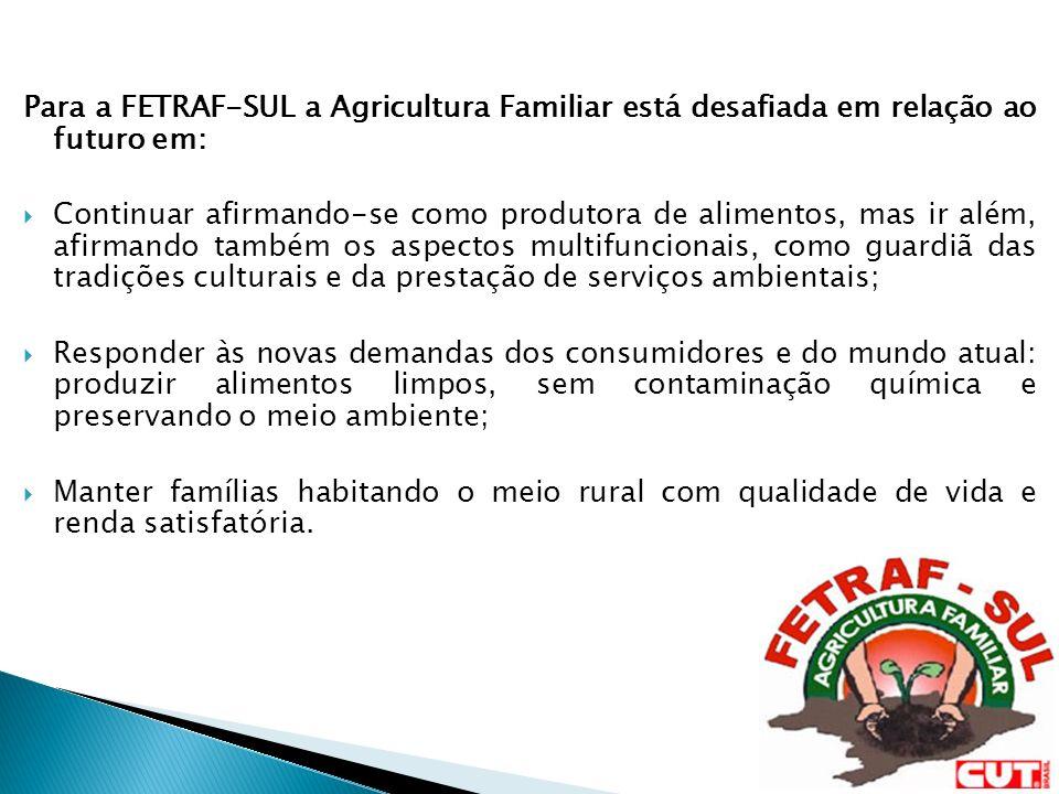 Para a FETRAF-SUL a Agricultura Familiar está desafiada em relação ao futuro em: Continuar afirmando-se como produtora de alimentos, mas ir além, afir