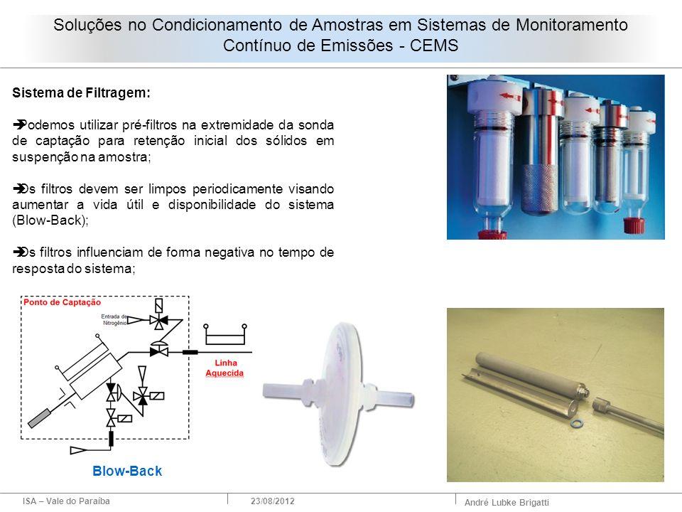 ISA – Vale do Paraíba23/08/2012 André Lubke Brigatti Sistema de Filtragem: Podemos utilizar pré-filtros na extremidade da sonda de captação para reten