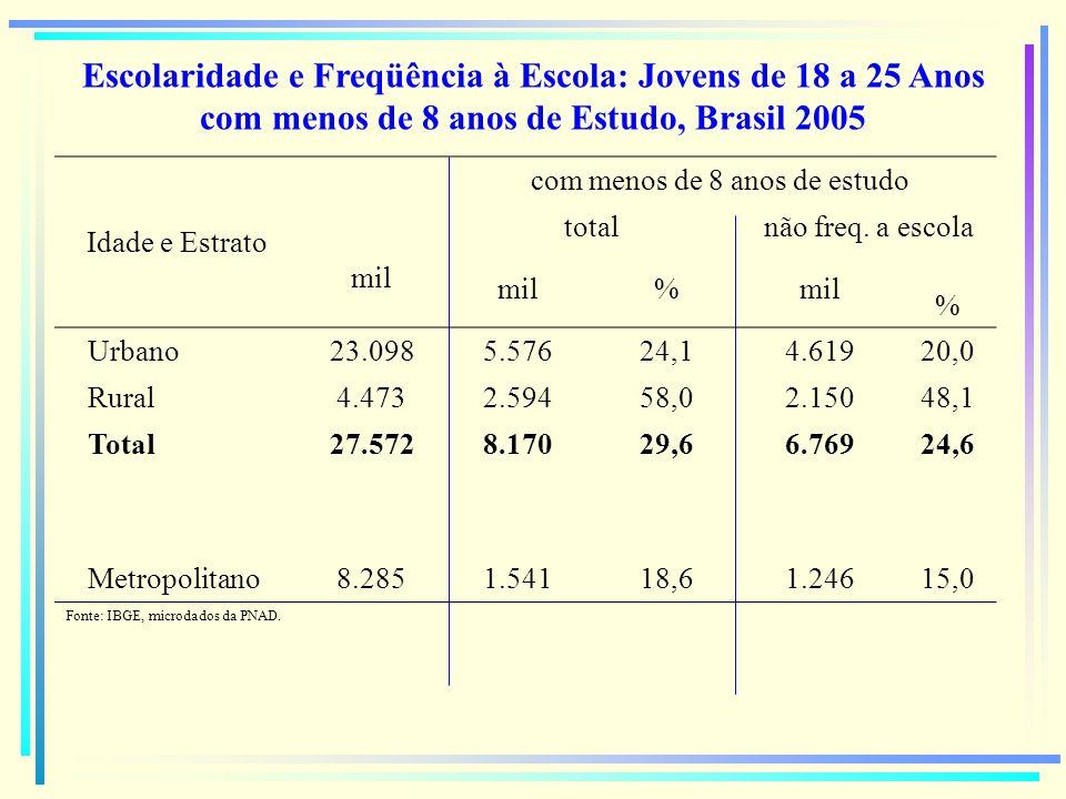 Escolaridade e Freqüência à Escola: Jovens de 18 a 25 Anos com menos de 8 anos de Estudo, Brasil 2005 Idade e Estrato mil com menos de 8 anos de estud