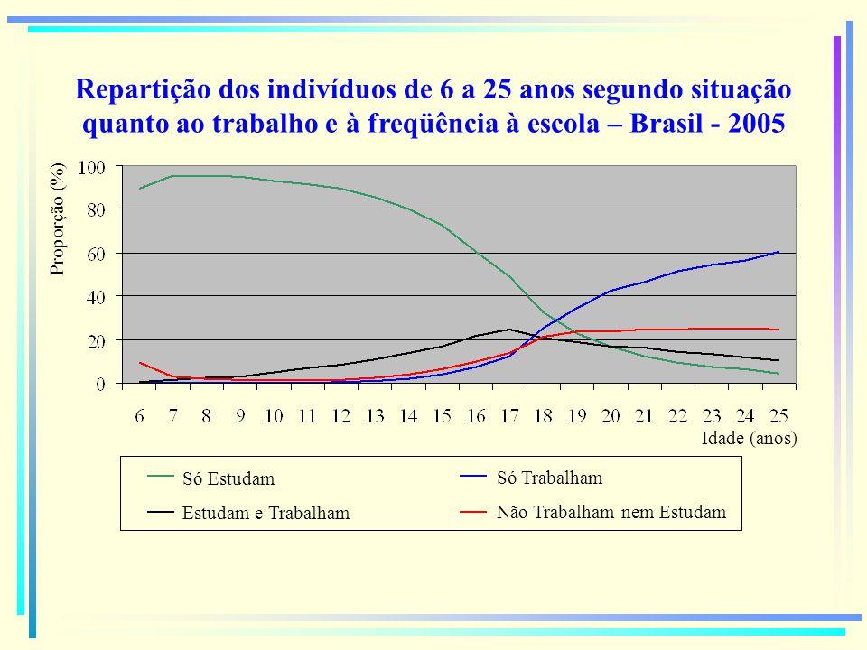 Repartição dos indivíduos de 6 a 25 anos segundo situação quanto ao trabalho e à freqüência à escola – Brasil Rural - 2005 Proporção (%) Idade (anos) Só Estudam Estudam e Trabalham Só Trabalham Não Trabalham nem Estudam