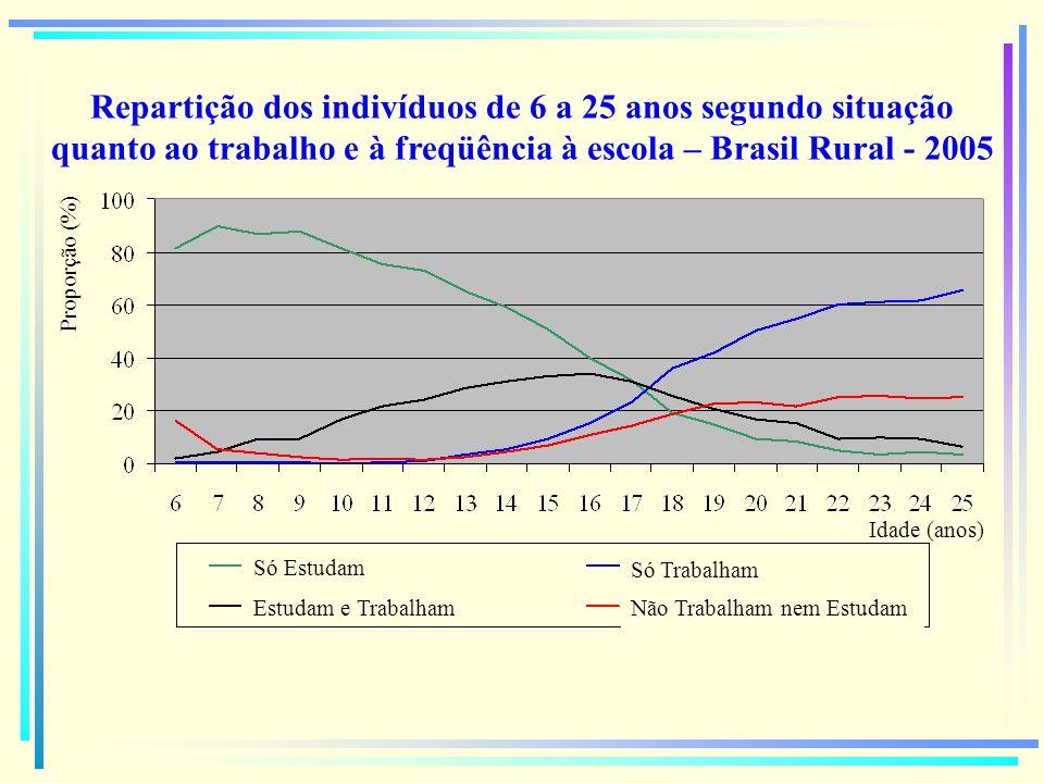 Repartição dos indivíduos de 6 a 25 anos segundo situação quanto ao trabalho e à freqüência à escola – Brasil Rural - 2005 Proporção (%) Idade (anos)