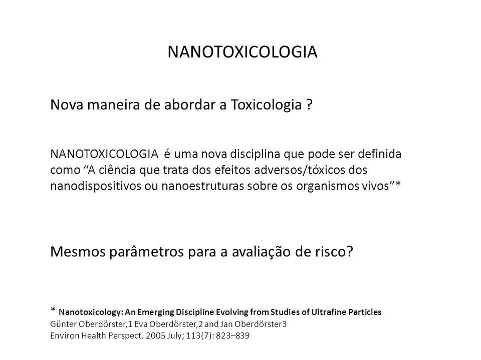 NANOTOXICOLOGIA Nova maneira de abordar a Toxicologia ? NANOTOXICOLOGIA é uma nova disciplina que pode ser definida como A ciência que trata dos efeit
