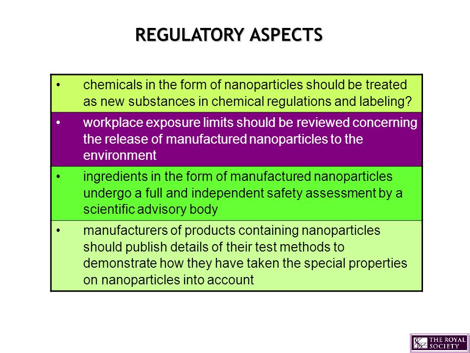 REGULATORY ASPECTS chemicals in the form of nanoparticles should be treated as new substances in chemical regulations and labeling? workplace exposure