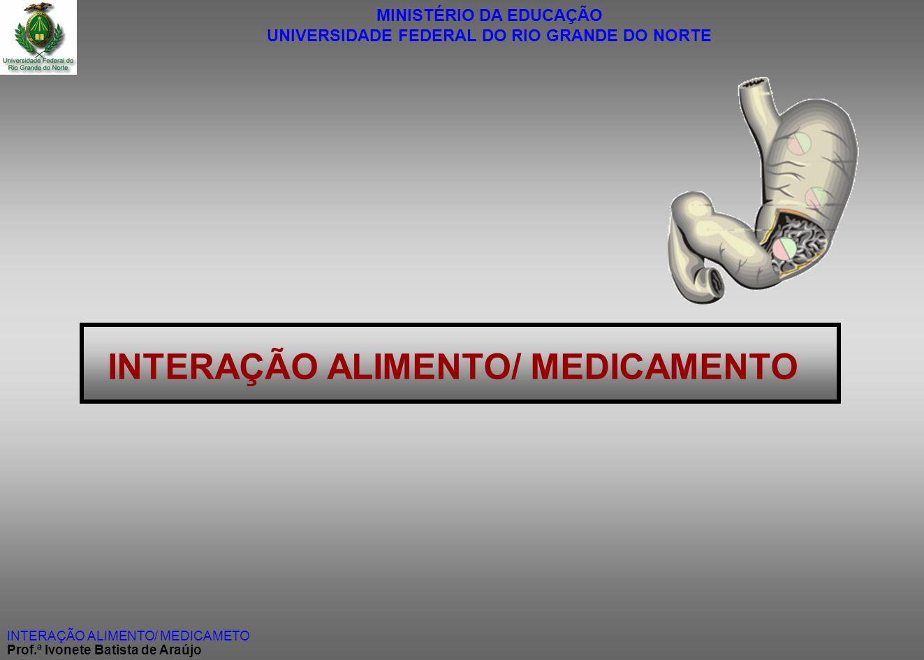 MINISTÉRIO DA EDUCAÇÃO UNIVERSIDADE FEDERAL DO RIO GRANDE DO NORTE INTERAÇÃO ALIMENTO/ MEDICAMETO Prof.ª Ivonete Batista de Araújo INTERAÇÃO ALIMENTO/