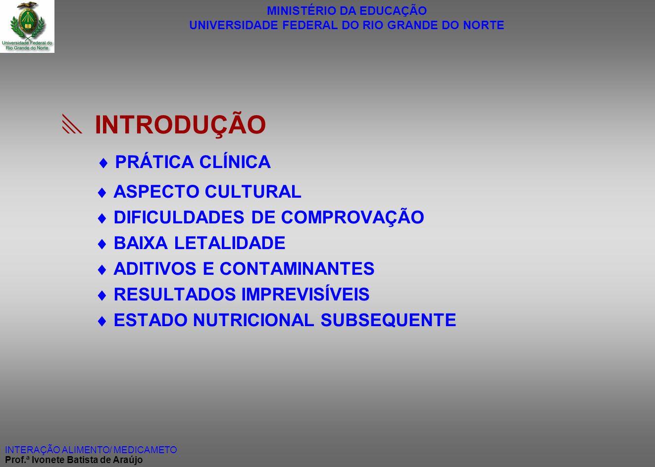 MINISTÉRIO DA EDUCAÇÃO UNIVERSIDADE FEDERAL DO RIO GRANDE DO NORTE INTERAÇÃO ALIMENTO/ MEDICAMETO Prof.ª Ivonete Batista de Araújo INTRODUÇÃO PRÁTICA