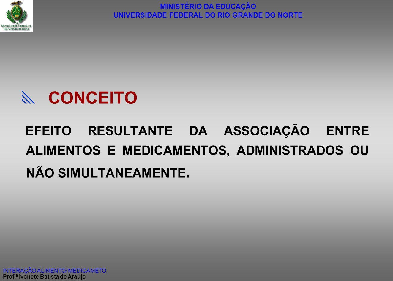 MINISTÉRIO DA EDUCAÇÃO UNIVERSIDADE FEDERAL DO RIO GRANDE DO NORTE INTERAÇÃO ALIMENTO/ MEDICAMETO Prof.ª Ivonete Batista de Araújo CONCEITO EFEITO RES