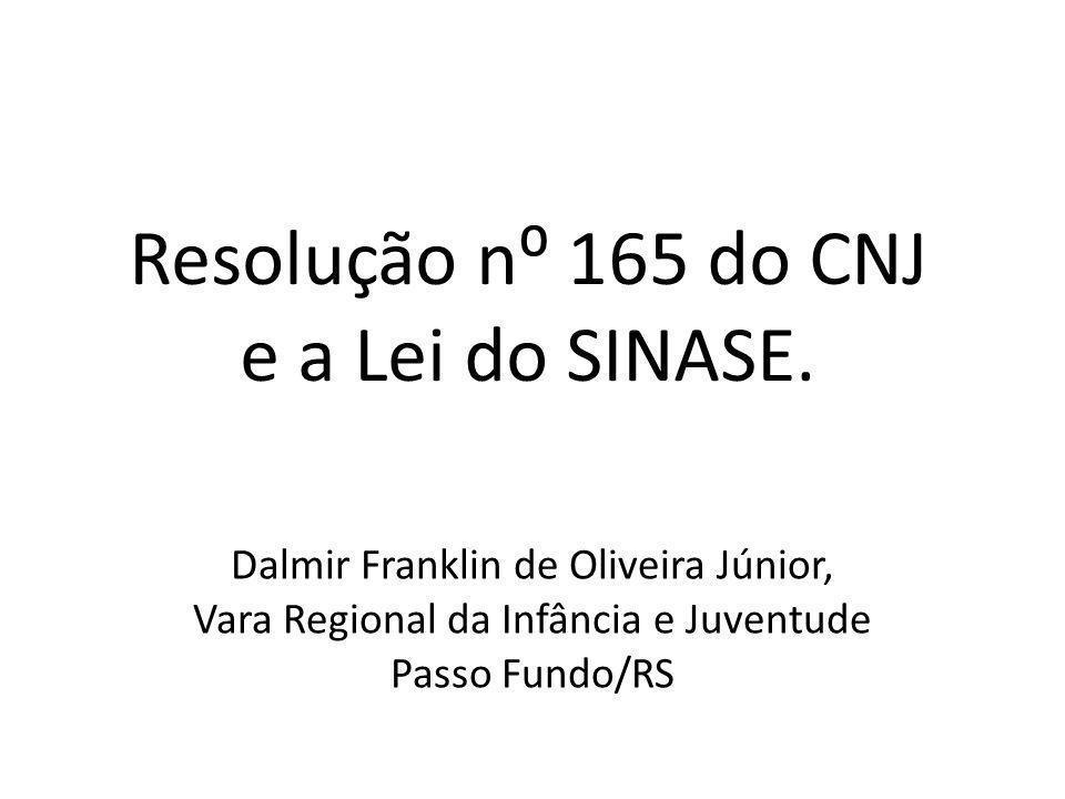 Resolução n 165 do CNJ e a Lei do SINASE. Dalmir Franklin de Oliveira Júnior, Vara Regional da Infância e Juventude Passo Fundo/RS