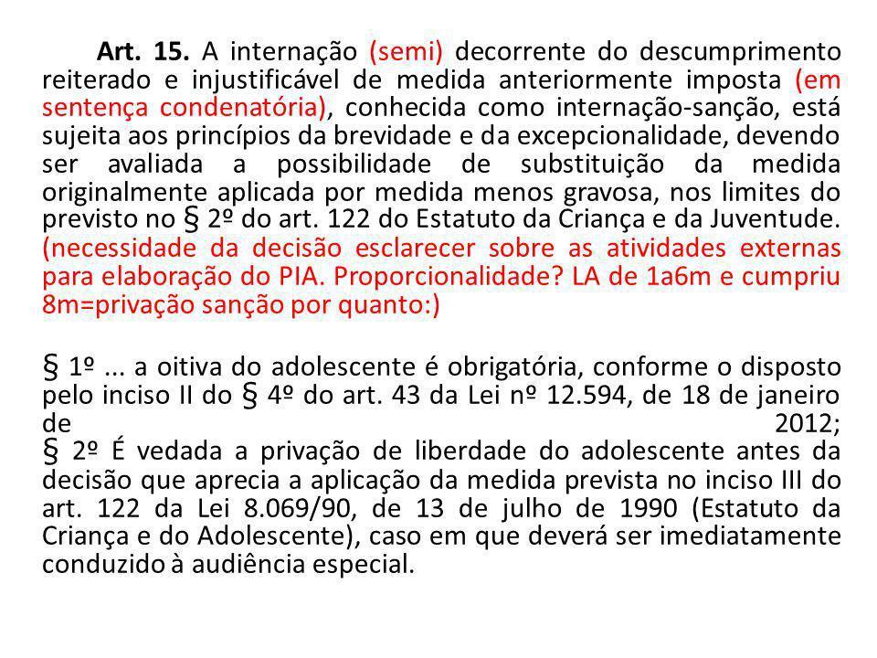 Art. 15. A internação (semi) decorrente do descumprimento reiterado e injustificável de medida anteriormente imposta (em sentença condenatória), conhe