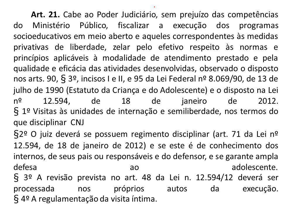 . Art. 21. Cabe ao Poder Judiciário, sem prejuízo das competências do Ministério Público, fiscalizar a execução dos programas socioeducativos em meio